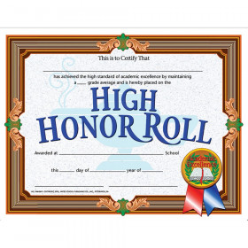 "High Honor Roll Certificate, 8.5"" x 11"", Pack of 30"