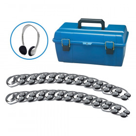 Personal Headphone Lab Pack with Foam Ear Cushions, Pack of 24 with Carrying Case