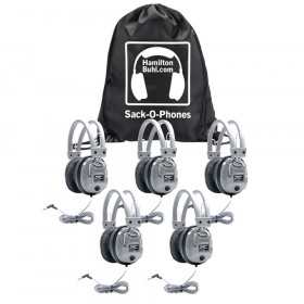 Sack-O-Phones, 5 SC7V Deluxe Headphones with Volume Control in a Carry Bag, Pack of 5