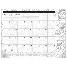 "Academic Monthly Desk Pad Calendar, Black & White Doodle, 12 Month August-July, 18-1/2"" x 13"""
