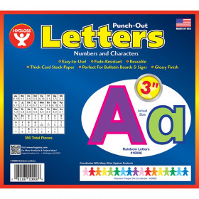 """Rainbow Punch-Out Bulletin Board 3"""" Letters, 350 Pieces"""