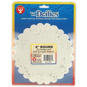 """Round Doilies, White, 6"""", 100/pkg"""