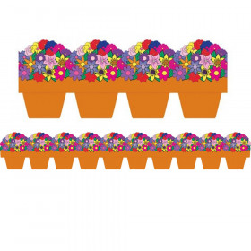 Flower Pot Die Cut Border