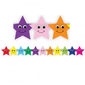 Happy Multicolor Stars Die Cut Border