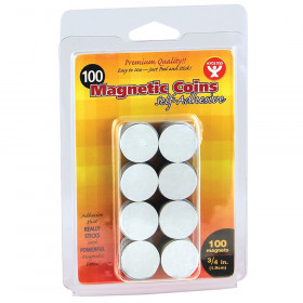 "Self-Adhesive Magnetic Coins- 100, 3/4"" coins"
