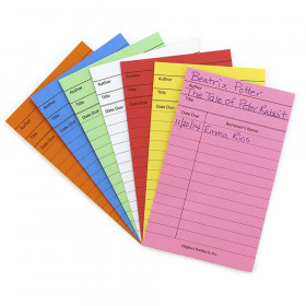 Bright Library Cards, Assorted Colors, Pack of 50