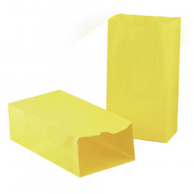 "Gusseted Paper Bags, #6 (6"" x 3.5"" x 11""), Yellow, Pack of 50"
