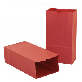 "Gusseted Paper Bags, #6 (6"" x 3.5"" x 11""), Red, Pack of 50"