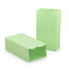 "Gusseted Paper Bags, #6 (6"" x 3.5"" x 11""), Lime Green, Pack of 50"