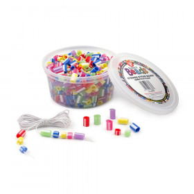 Bucket O' Beads, Striped Straw, Assorted Sizes, Pack of 100
