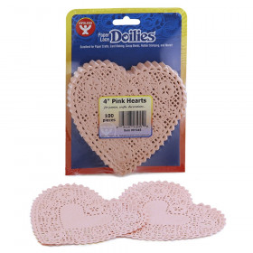 "Heart Doilies, Pink, 4"", Pack of 100"