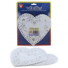 "Heart Doilies, White, 6"", 100/pkg"
