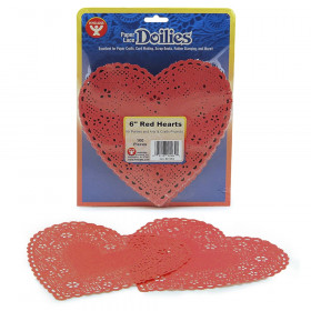 "Heart Doilies, Red, 6"", Pack of 100"