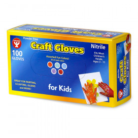 Colored Nitrile (Latex-Free) Craft Gloves, Kids Size, Pack of 100