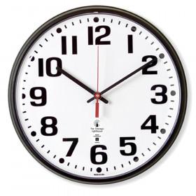 "Atomic Clock, 12"" Dial, Bold #s, Radio Control Movement, Black"