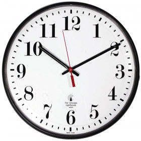 "Atomic Clock, 12"" Dial, Standard #s, Radio Control Movement, 12.75"" Dia, Black"