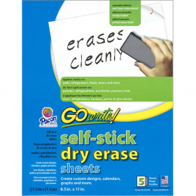 "Dry Erase Sheets, Self-Adhesive, White, 8-1/2"" x 11"", 5 Sheets"