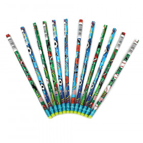 Decorated Pencils, Sports Asst., 12/pkg