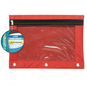"10"" x 7.5"", 3 Ring Pencil Pouch With Mesh Window (4 colors, PDQ of 24)"