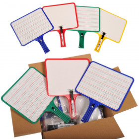 Blank/Lined 2-Sided Rectangular Dry Erase Paddles with Markers, Class Set of 10