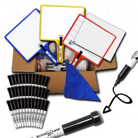 Customizable Handheld Whiteboards with Clear Dry Erase Sleeves & Markers, Class Set of 36