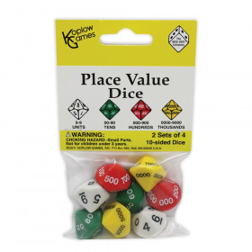 Place Value Dice, 2 sets of 4 10-sided dice