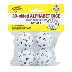 30-Sided Alphabet Dice, Lowercase, Set of 4