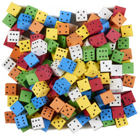 Foam Spot Dice, Assorted Color, 16mm, Bag of 200