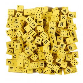 Foam Spot & Number Dice, Yellow, 16mm, Bag of 200