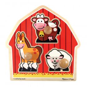 "Barnyard Animals Jumbo Knob Puzzle, 12"" x 12"", 3 Pieces"