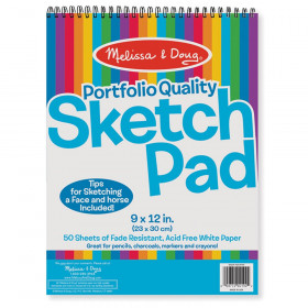 "Quality Spiral-Bound Sketch Pad, 9"" x 12"", 50 Sheets"