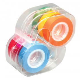 Removable Highlighter Tape, Fluorescent Colors, Pack of 6