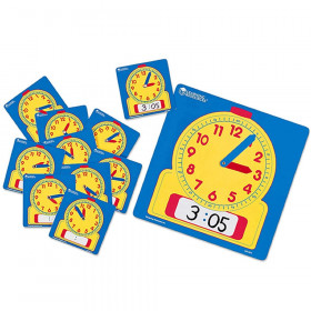 Write & Wipe Clocks Classroom Set, 1 Demonstration Clock, 24 Student Clocks