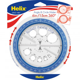 Angle and Circle Maker with Integrated Circle Templates, 360 Degree, 6 Inch/15cm, Assorted Colors