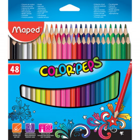 Color'Peps Triangular Colored Pencils, Assorted Colors, Pack of 48