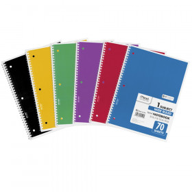Spiral 1 Subject Notebook, WR, 70 shts