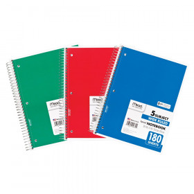 Spiral 5 Subject Notebook, WR, 180 shts