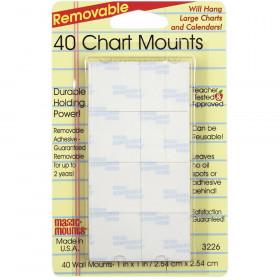 """Magic Mounts Chart Mounts, 1"""" x 1"""", Pack of 40"""
