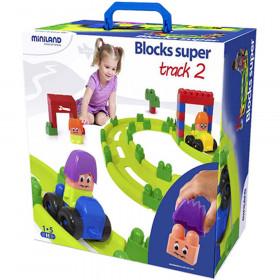Super Blocks Racing Track Set, 62 Pieces
