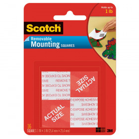 "Removable Mounting Tape, 1"" x 1"", 16 Squares"