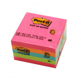 "Pop-up Notes, 3"" x 3"", Neon, 100 Sheets/Pad, 5 Pads"