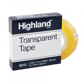 "Transparent Tape, 1/2"" x 1296"" Per Roll, 1"" Core"