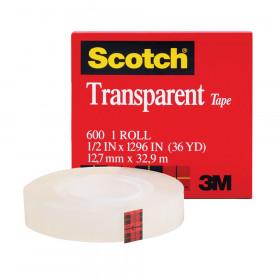 """Transparent Tape Refill Rolls, 1/2"""" x 1296"""""""