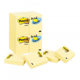 "Notes Value Pack, 1.5"" x 2"", Canary Yellow, 24 Pads"