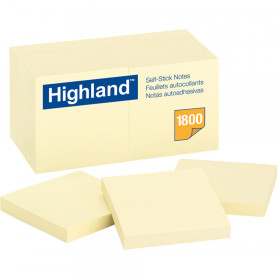 Highland Self Stick 18Pk Removable Notes 3X3 Yellow