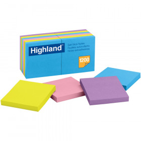 """Self-Stick Removable Notes, 3"""" x 3"""", Assorted Colors, 12 Pads"""