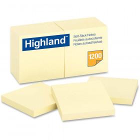 Highland Self-Stick Notes 12 Pads 100 Shts/Pad 3X3 Yellow