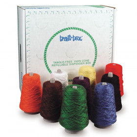 4-Ply Double Weight Rug Yarn Dispenser, Bright Colors, 8 oz., 9 Cones