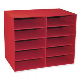 """10-Shelf Organizer, Red, 17""""H x 21""""W x 12-7/8""""D, 1 Organizer"""