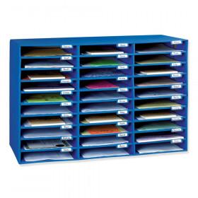 "Mailbox, 30-Slot, Blue, 21""H x 31-5/8""W x 12-3/4""D"